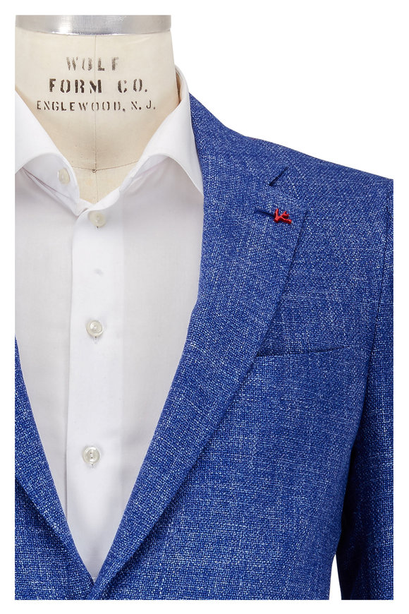 Isaia Blue Textured Sportcoat