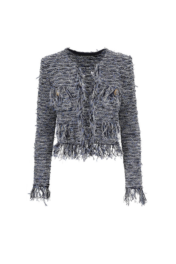 Balmain Blue Knit Fringed Tweed Cropped Jacket