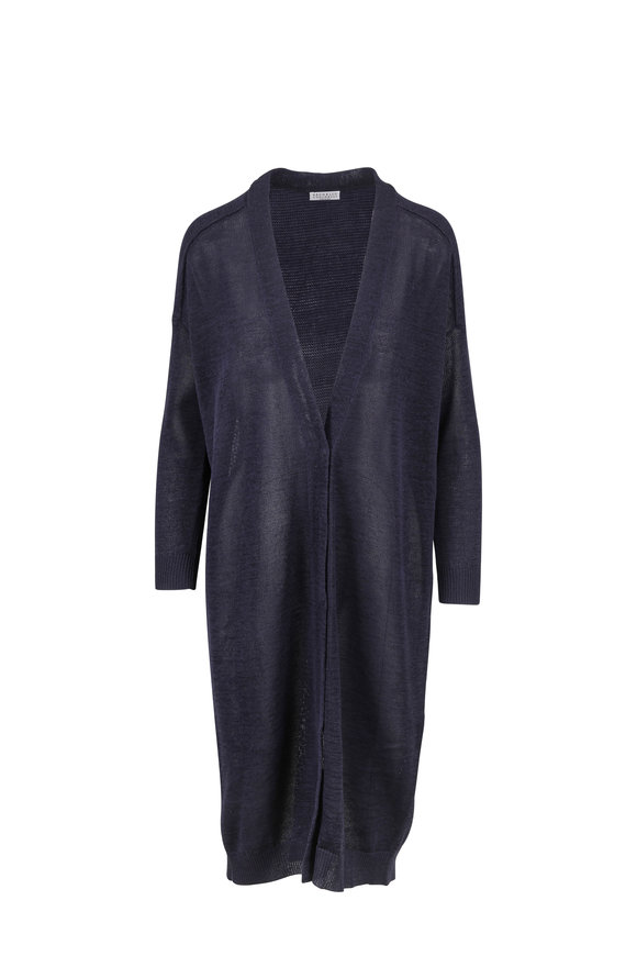 Brunello Cucinelli Midnight Dry Cotton Snap Front Duster