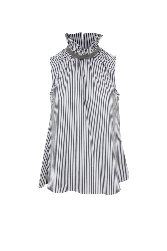 Brunello Cucinelli Black & White Striped Ruffled Collar Blouse