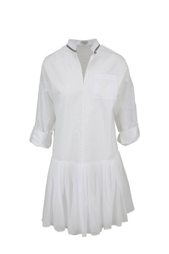 Brunello Cucinelli White Cotton Pleated Skirt Dress