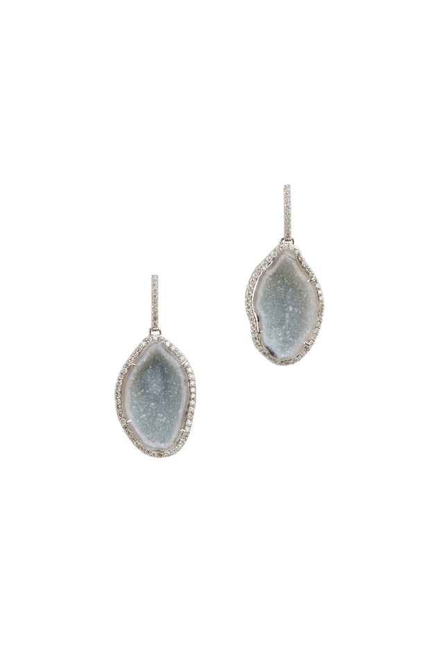 White Gold Light Geode Diamond Drop Earrings
