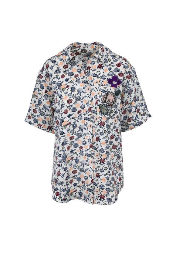 Adam Lippes Multicolor Floral Appliqué Short Sleeve Blouse