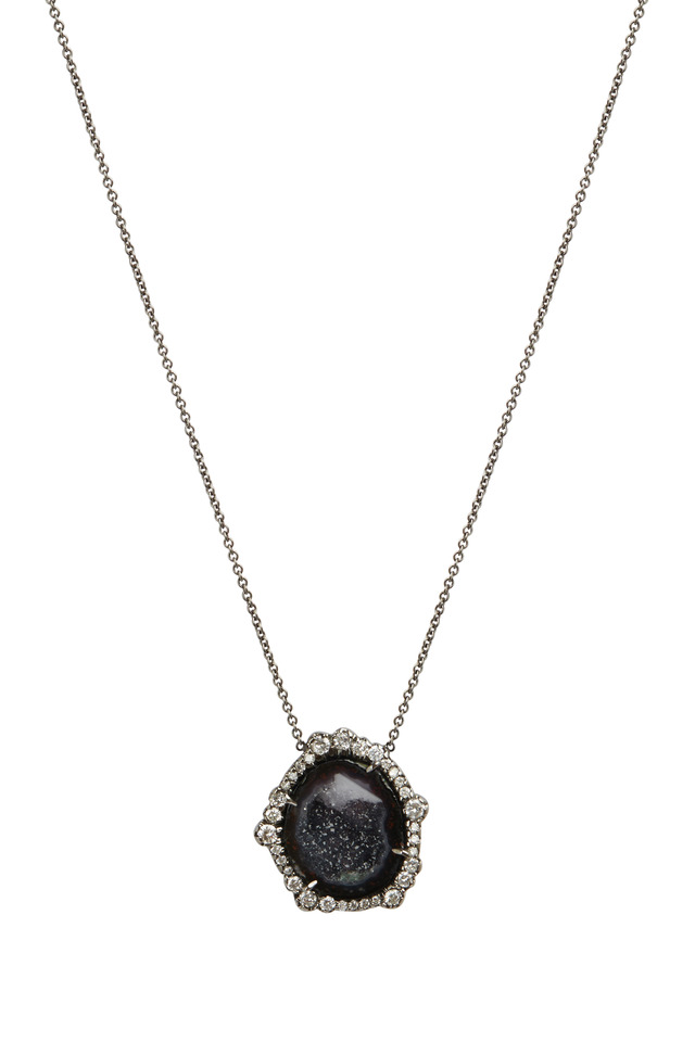 Dark Geode & Irregular Diamond Pendant