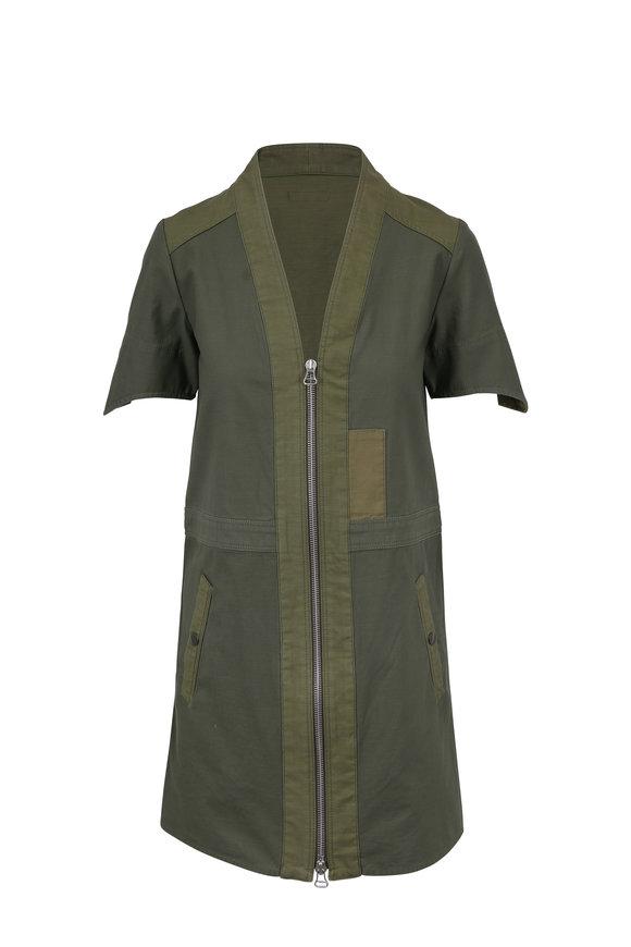 Rag & Bone Woolf Dark Olive Zip-Front Dress