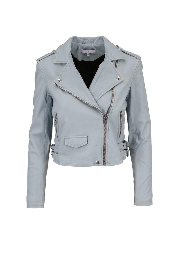 IRO Ashville Bleached Blue Leather Moto Jacket