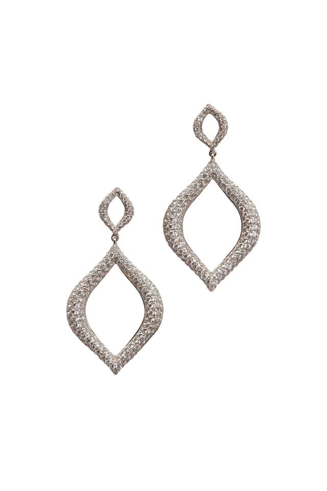 White Gold Pavé-Set Diamond Drop Earrings