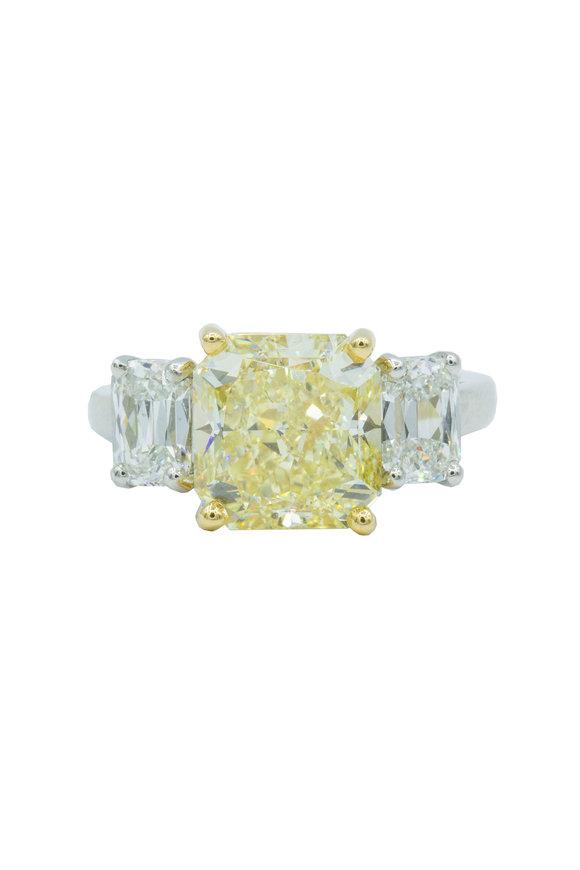 Oscar Heyman Platinum Yellow Diamond Cocktail Ring