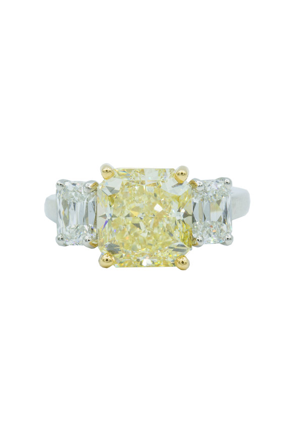 Oscar Heyman Platinum Yellow Diamond Cocktail Ring