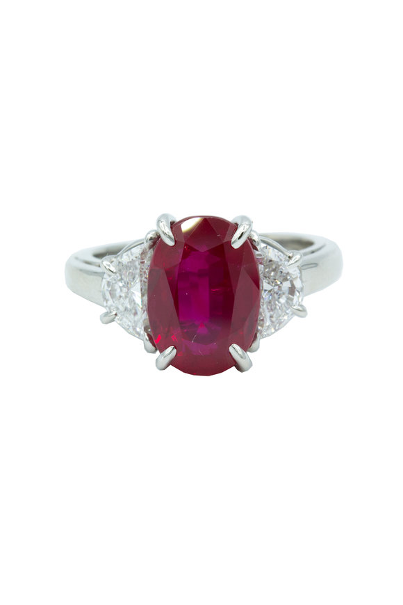 Oscar Heyman Platinum Ruby & Diamond Ring