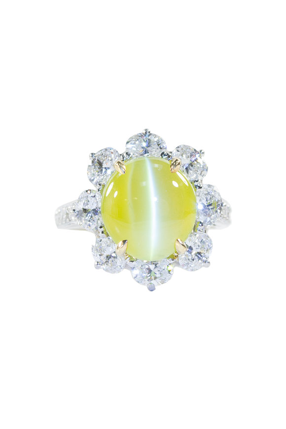 Oscar Heyman Platinum Cat's Eye & Diamond Ring