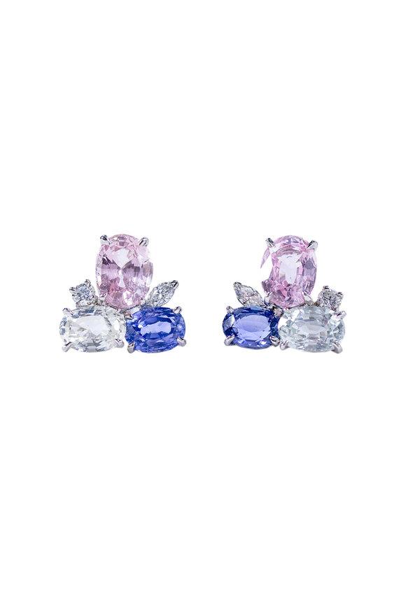 Oscar Heyman Platinum Multicolor Sapphire & Diamond Earrings