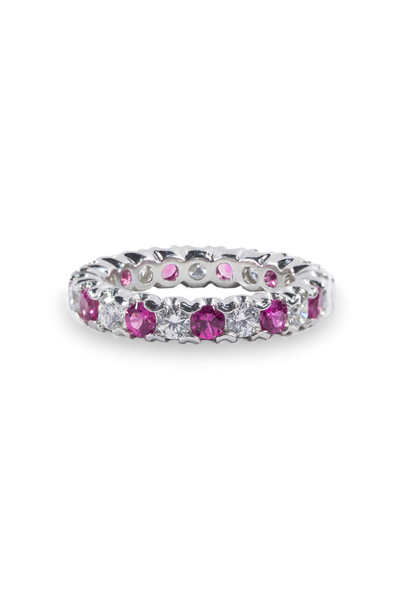 Oscar Heyman Pink Sapphire & Diamond Fishtail Guard Ring