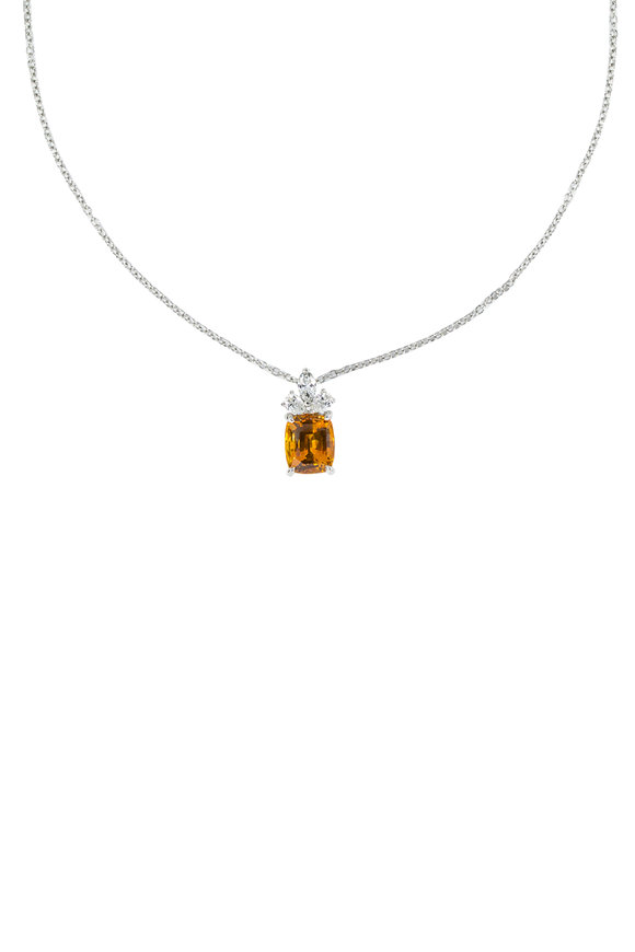 Oscar Heyman Platinum Orange Sapphire & Diamond Pendant