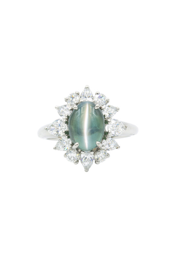 Oscar Heyman Platinum Green Alexandrite & Diamond Ring