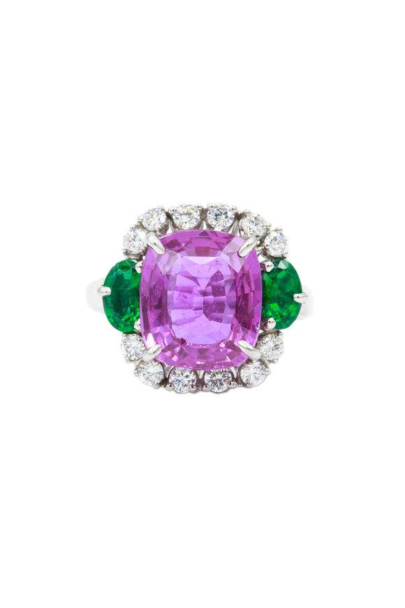 Oscar Heyman Platinum Pink Sapphire, Emerald & Diamond Ring