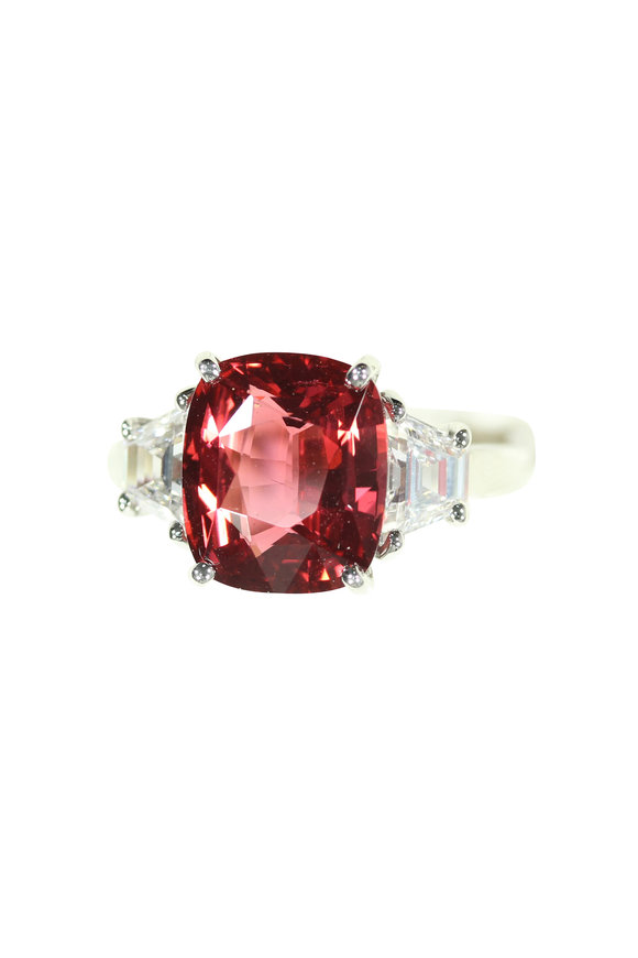 Oscar Heyman Platinum Pink Spinel & Diamond Ring