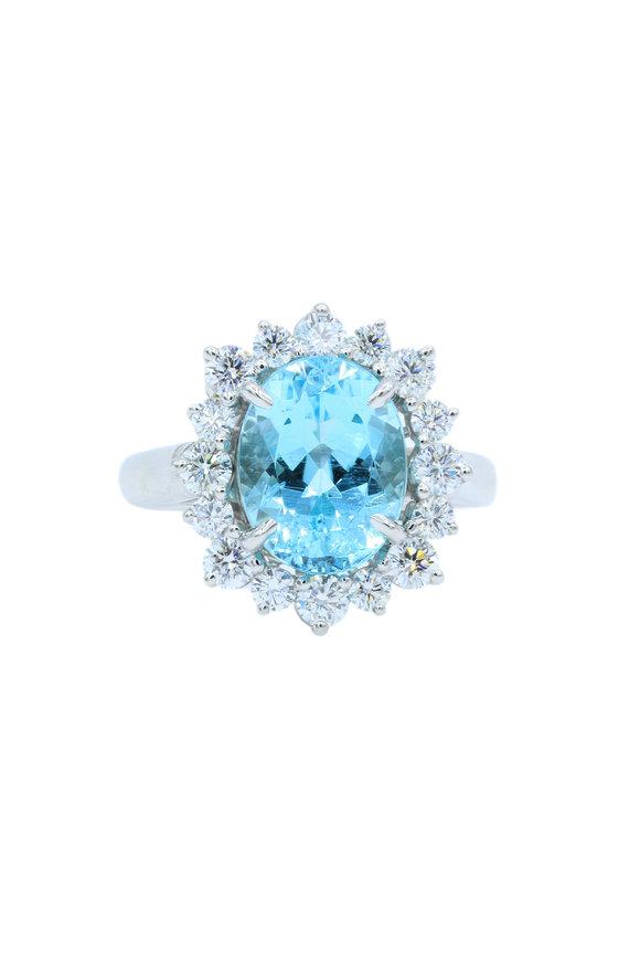 Oscar Heyman Platinum Blue Tourmaline & Diamond Ring