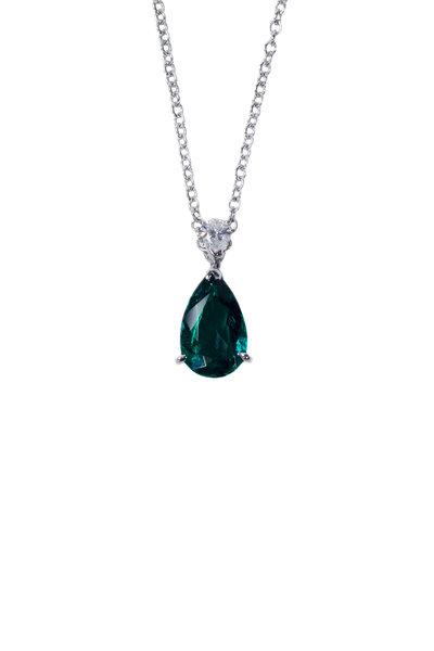 Oscar Heyman - Platinum Emerald & Diamond Pendant Necklace