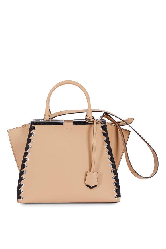 Fendi Tres Jour Cuoio & Black Lace-Up Medium Bag