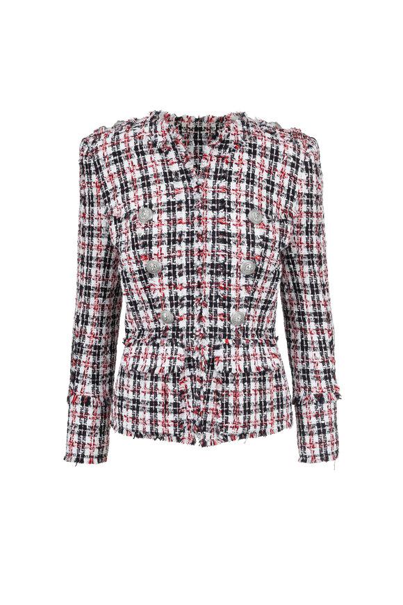 Balmain Red Check Tweed Jacket