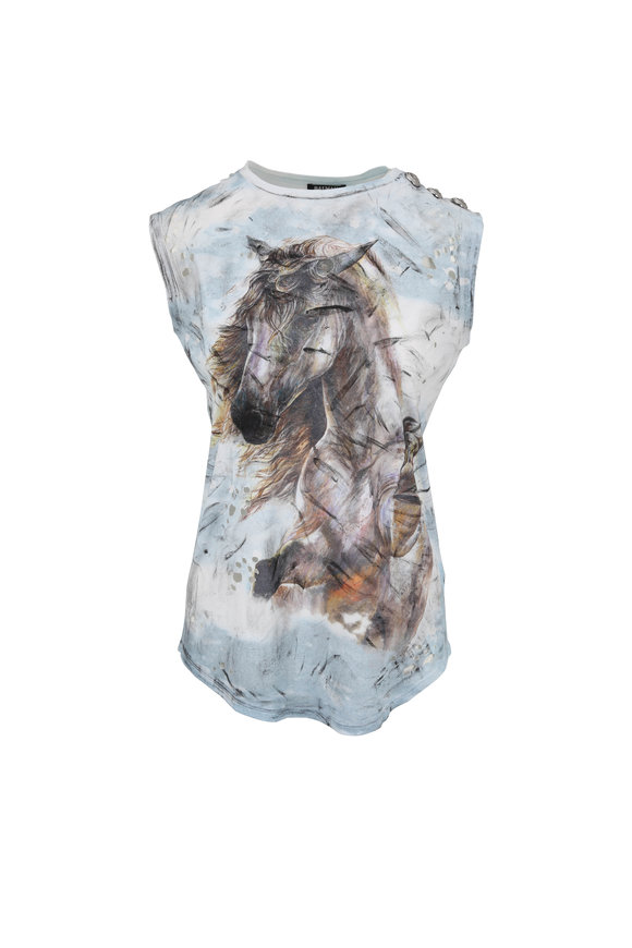 Balmain Light Blue Pony Fantasy Sleeveless Top