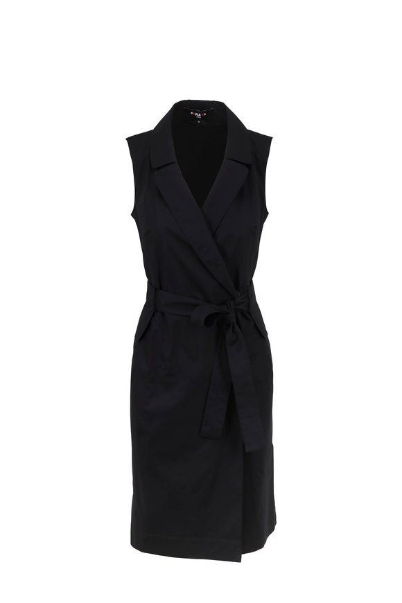 Paule Ka Black Poplin Sleeveless Belted Shirtdress