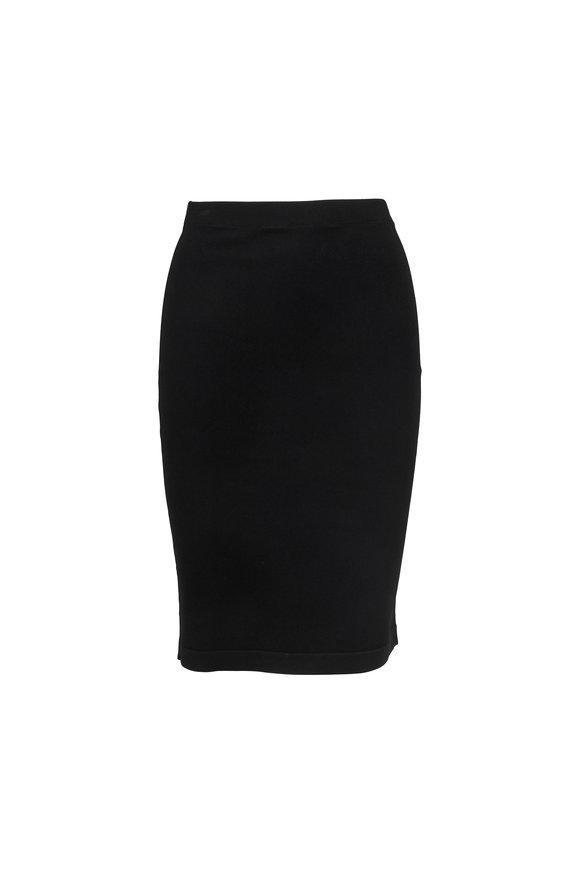 D.Exterior Black Stretch Pencil Skirt