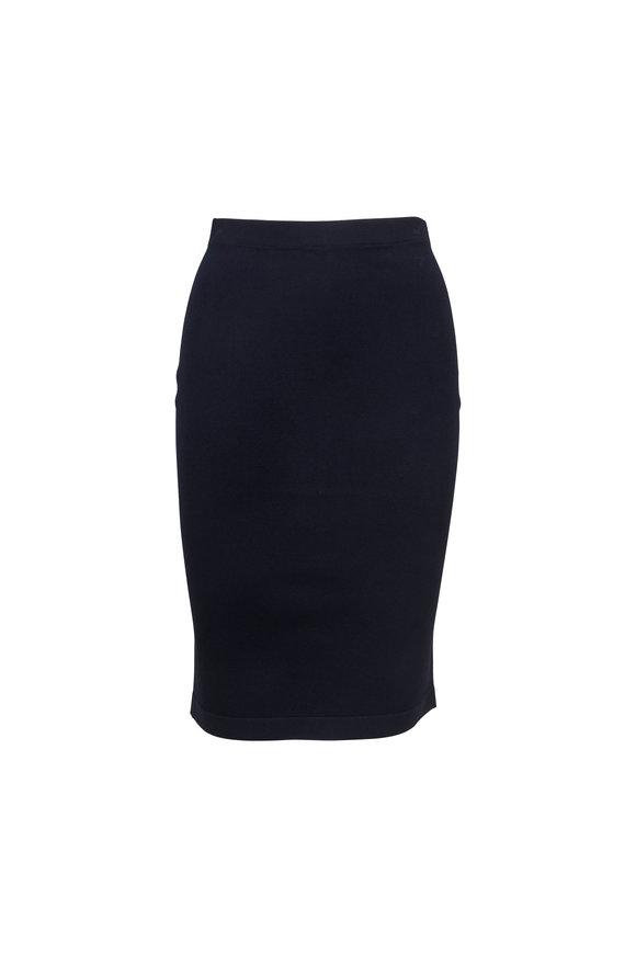 D.Exterior Navy Blue Pull-On Pencil Skirt