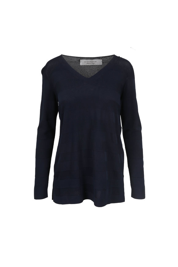 D.Exterior Navy Blue Tonal Striped V-Neck Sweater