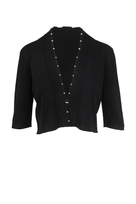D.Exterior Black Knit Three-Quarter Sleeve Crop Cardigan