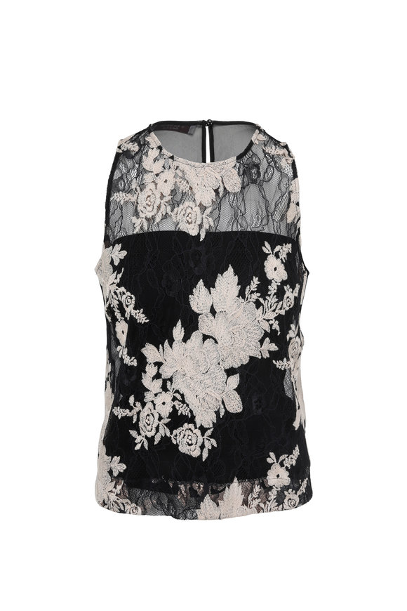 D.Exterior Black Floral Embroidered Lace Sleeveless Top