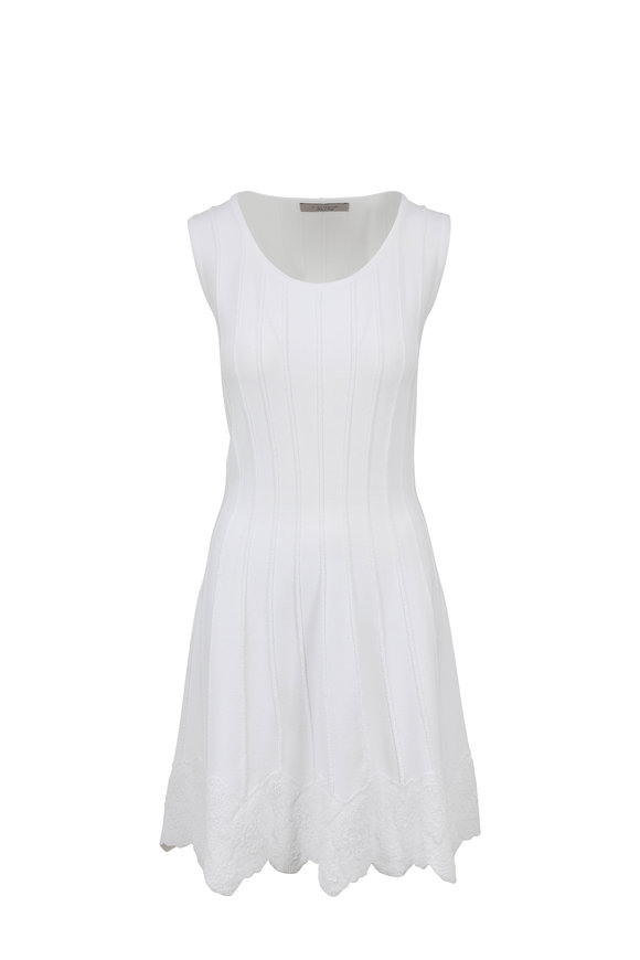 D.Exterior White Floral Hem Sleeveless Fit & Flare Dress