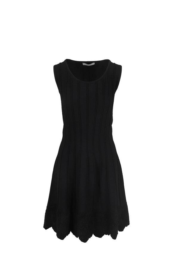 D.Exterior Black Floral Hem Sleeveless Fit & Flare Dress