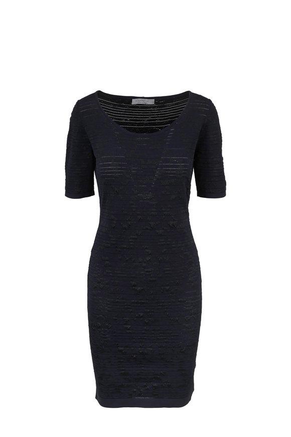 D.Exterior Navy Blue Stretch Short Sleeve Dress