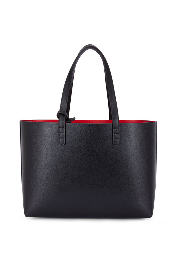 Mansur Gavriel Black Saffiano Leather Contrast Red Lined Tote