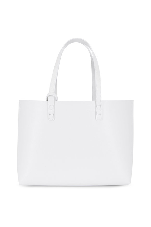 Mansur Gavriel White Saffiano Leather Contrast Navy Lined Tote