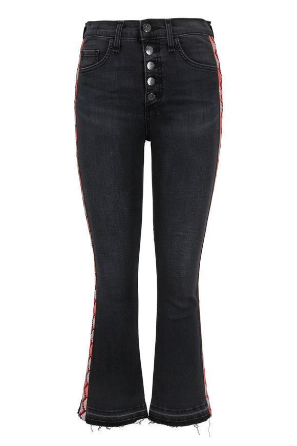 Veronica Beard Carolyn Smoke Embroidered Trim Frayed Boot Jean