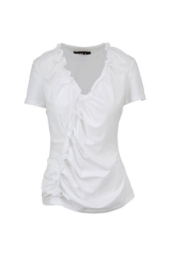Paule Ka White Stretch Cotton Ruffled Short Sleeve Top