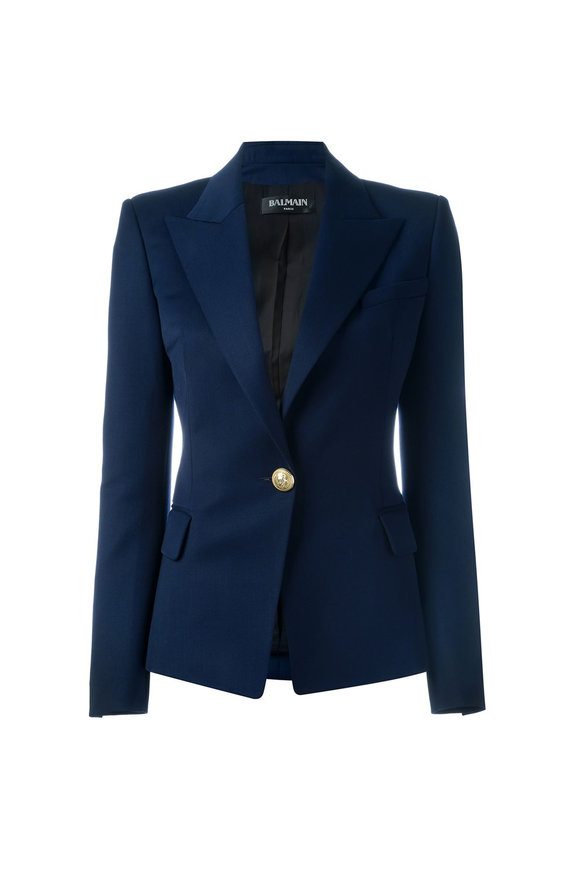 Balmain Navy Blue Wool Single Button Blazer