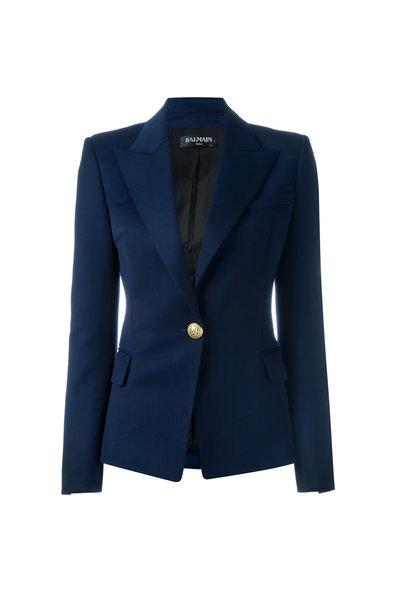 Balmain - Navy Blue Wool Single Button Blazer