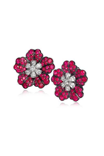 Nam Cho - White Gold Burmese Ruby Flower Stud Earrings