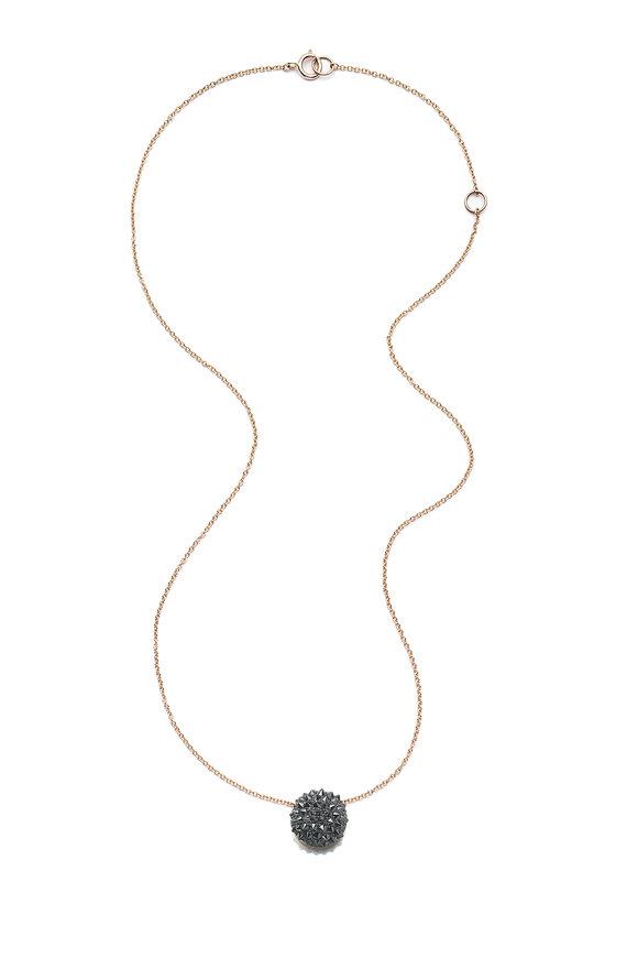Nam Cho Black Diamond Half Ball Pendant Necklace