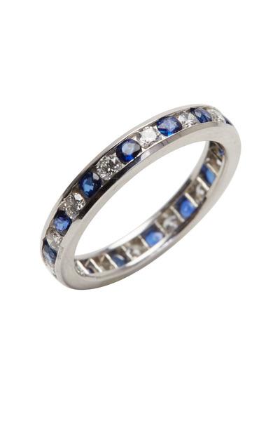 Oscar Heyman - Platinum Blue Sapphire Diamond Ring