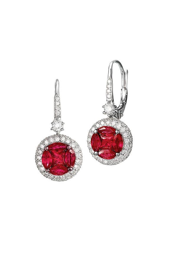 Nam Cho 18K White Gold Ruby & Diamond Stud Earrings