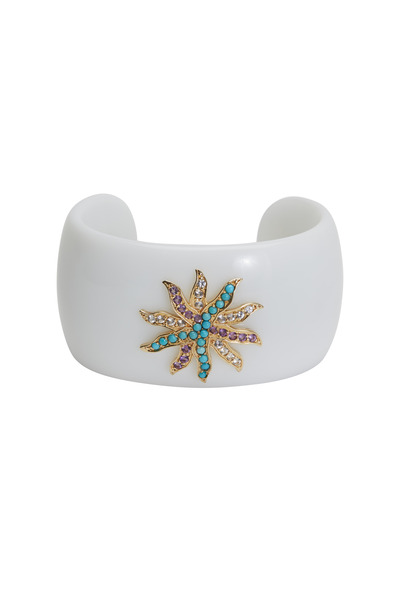 Emily & Ashley - White Agate Starburst Cuff Bracelet