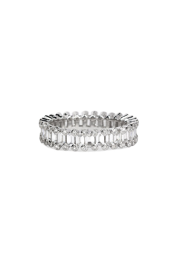 Nam Cho 18K White Gold Diamond Baguette Band