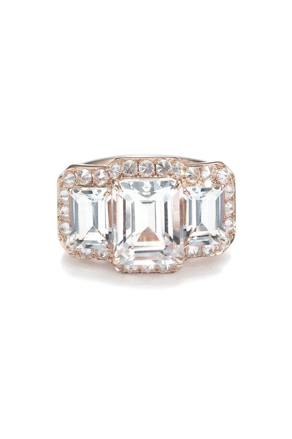 Nam Cho 18K Pink Gold Aquamarine & Diamond Ring
