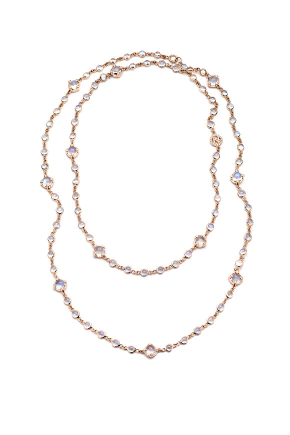 Nam Cho 18K Pink Gold Blue Moonstone & Diamond Necklace