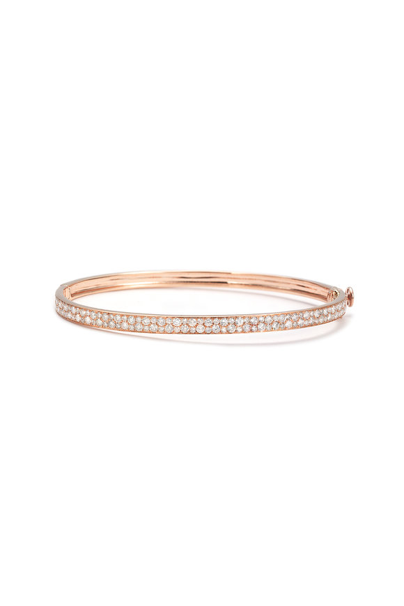 Nam Cho 18K Pink Gold Half Pavè Bangle